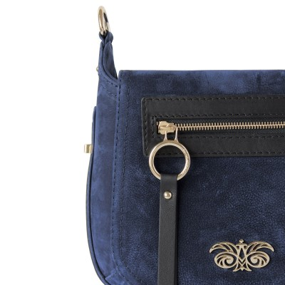 FRENCHY, crossbody leather and nubuck, night blue color - details