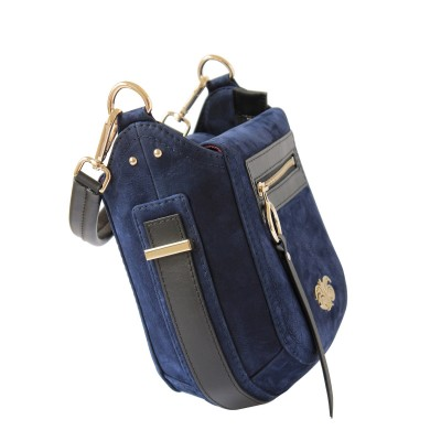 FRENCHY, crossbody leather and nubuck, night blue color - side view and details