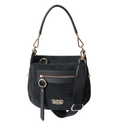 FRENCHY, crossbody leather and nubuck, black color - front view