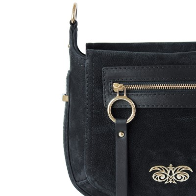 FRENCHY, crossbody leather and nubuck, black color - details