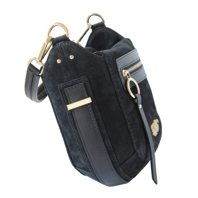 FRENCHY, crossbody leather and nubuck, black color - side view and details