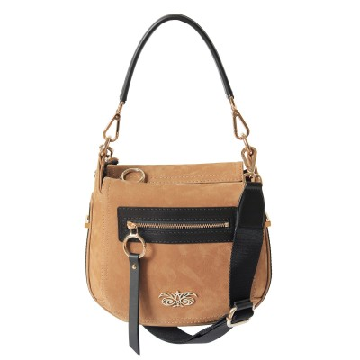 FRENCHY, crossbody leather and nubuck, wet sand color - front view