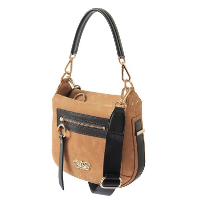 FRENCHY, crossbody leather and nubuck, wet sand color - side view