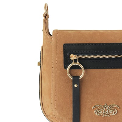 FRENCHY, crossbody leather and nubuck, wet sand color - details