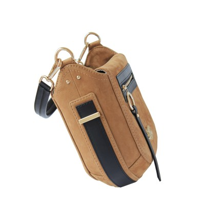FRENCHY, crossbody leather and nubuck, wet sand color - side view and details