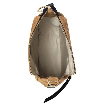FRENCHY, crossbody leather and nubuck, wet sand color - open