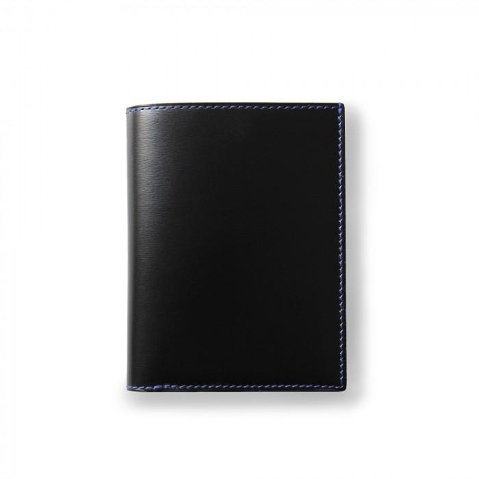 VENDÔME - calfskin wallet in black and Royal blue color - close