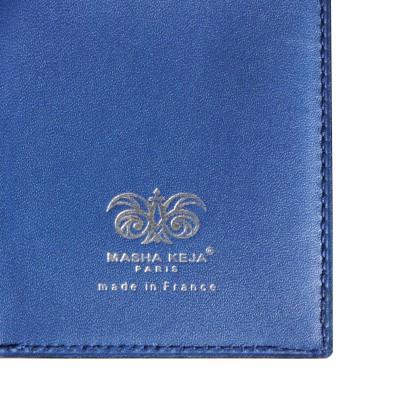 """porte-cartes et pièce d'identité """"VENDÔME"""" en cuir noir, finition box doublé de veau lisse, coloris bleu Roi - marquage á chaud"""