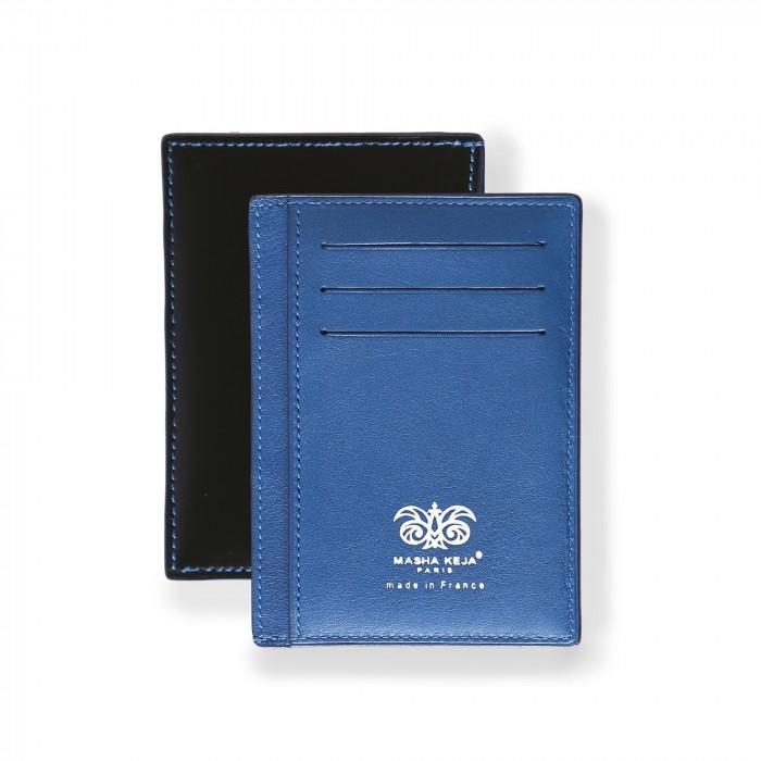 black and blue calfskin wallet