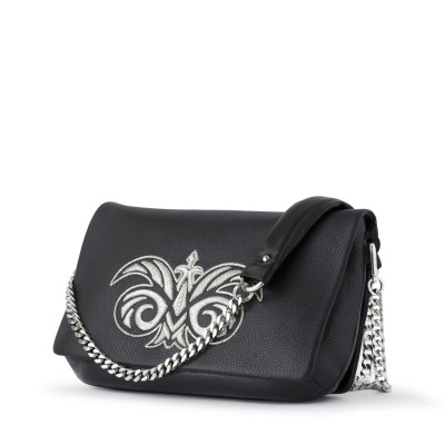 leather handbag with embroidery