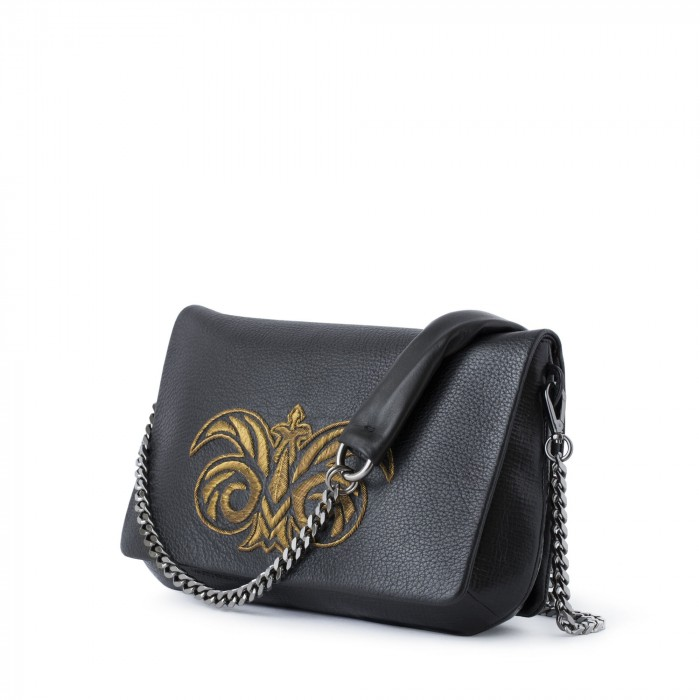 "handbag ""AVA"" in dearskin embroidered in cannetille"