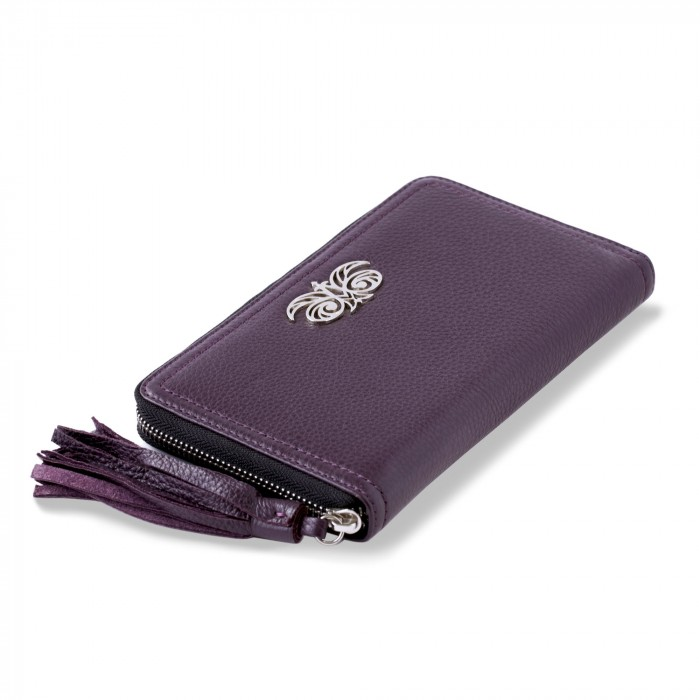 """Zipper organizer """"LISE"""" in grained calfskin with leather zipper, purple color - close"""