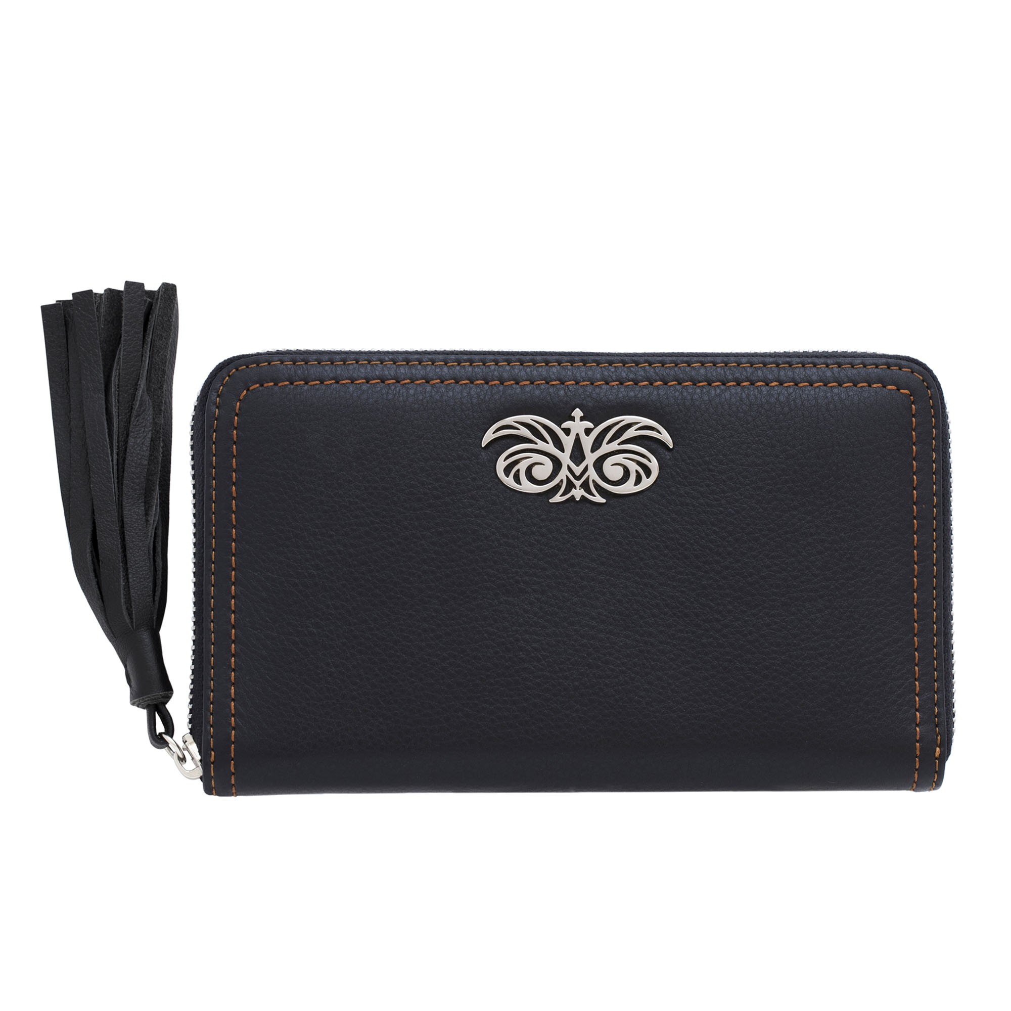 """Zipper organizer """"LISE"""" in grained calfskin with leather zipper, black color - front view"""