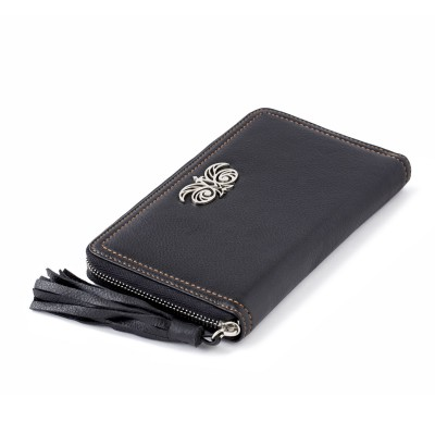 """Zipper organizer """"LISE"""" in grained calfskin with leather zipper, black color - close"""