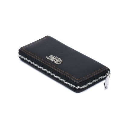 Continental wallet KYOTO in black grained leather - side view