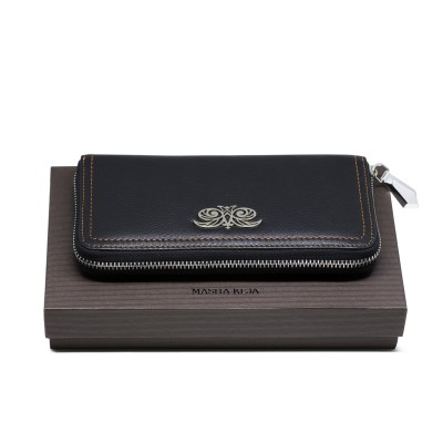 Continental wallet KYOTO in black grained leather - on a gift box