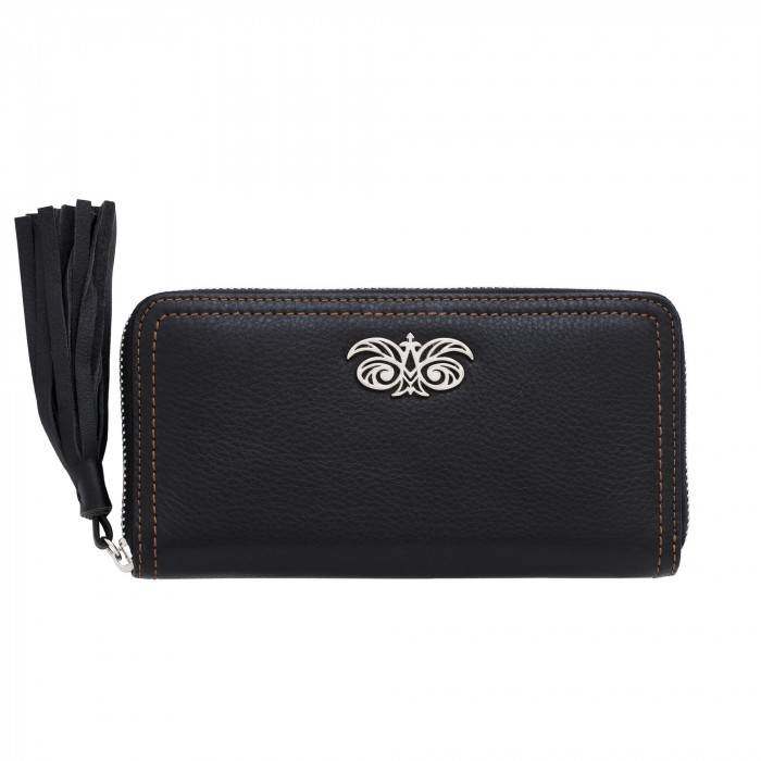 """Leather continental wallet """"KYOTO"""" with tassel"""
