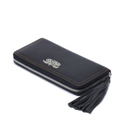 KYOTO, zipped  continental wallet in black grained leather with tassel - side view