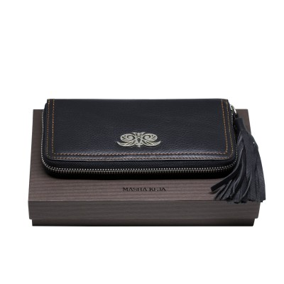 KYOTO, zipped  continental wallet in black grained leather with tassel - on a gift box