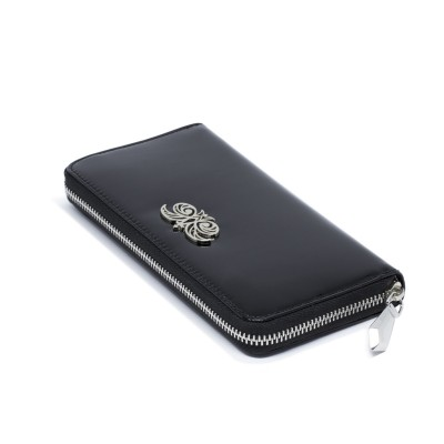 KYOTO, continental wallet in varnished leather, black color - closed