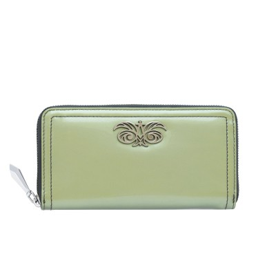 KYOTO, continental wallet in varnished leather, magic green color - front view