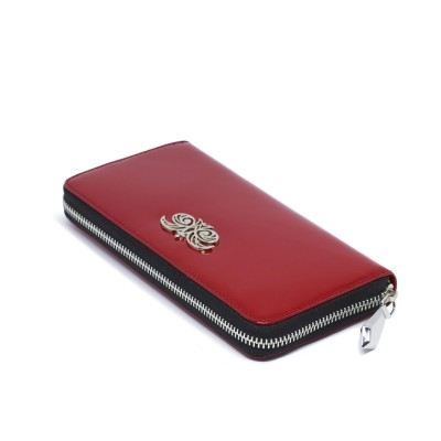 KYOTO, continental wallet in varnished leather, red color - closed