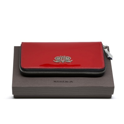 KYOTO, continental wallet in varnished leather, red color - on the gift box