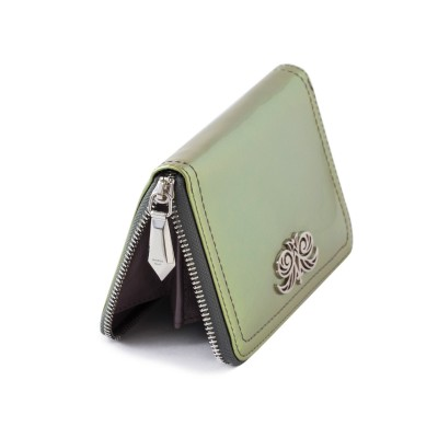 Zip around wallet NEW YORK in varnished leather, changing green color - metallic zipper pull