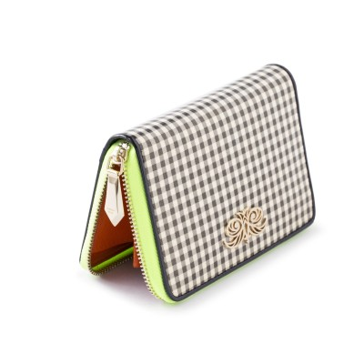 Zip around wallet NEW YORK in varnished leather, vichy checks - metal zipper pull