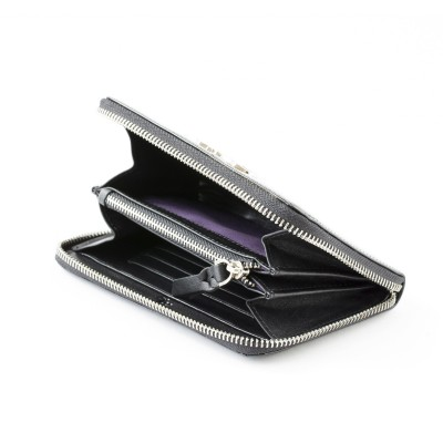 Zip around wallet NEW YORK in black varnished leather - open