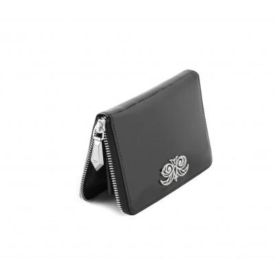 Zip around wallet NEW YORK in black varnished leather - metal zipper pull