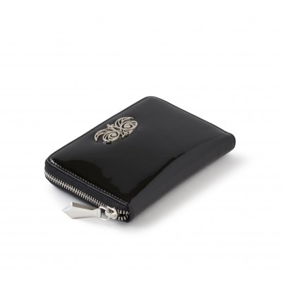 Zip around wallet NEW YORK in black varnished leather - side view