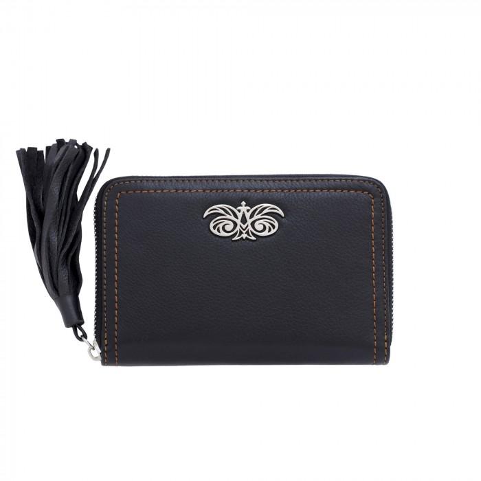 "Leather zip around wallet ""NEW YORK"" in grained calfskin"