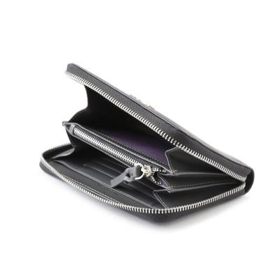 Zip around wallet NEW YORK in black grained calfskin and tassel - open