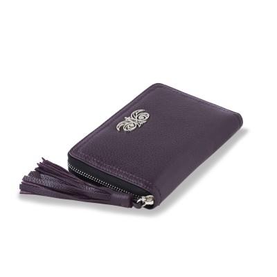 Portefeuille zippé NEW YORK en cuir foulonné coloris iris, tirette pompon - vue trois quart