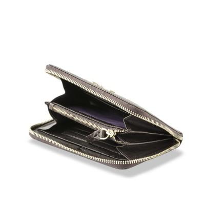 Zip around wallet NEW YORK in grained calfskin vintage brown color and tassel - open