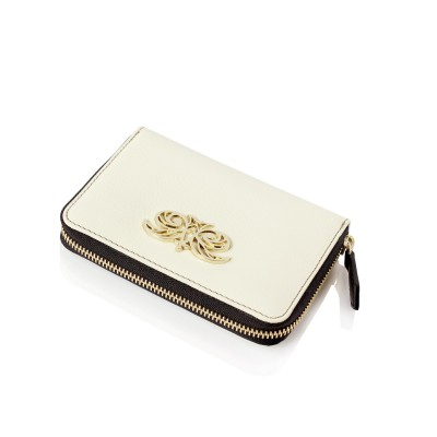 Compact zipped wallet MADRID in grained calfskin, off white color - side view