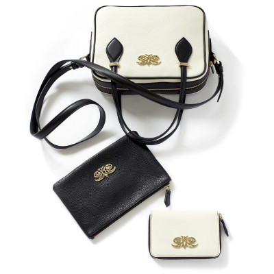 Compact zipped wallet MADRID in grained calfskin, off white color with JULIETTE handbag and zippy pouch JULIE