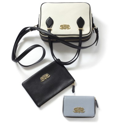 Compact zipped wallet MADRID in grained calfskin, lavender grey color with JULIETTE handbag and zippy pouch JULIE