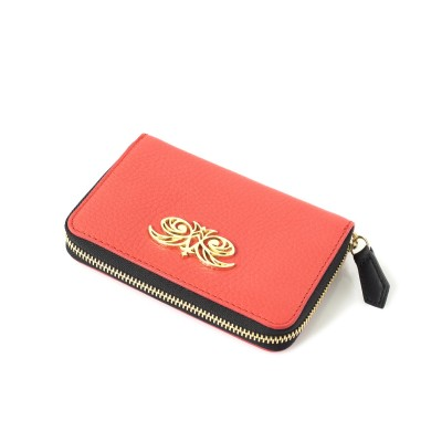 Compact zipped wallet MADRID in grained calfskin, hibiscus color - side view