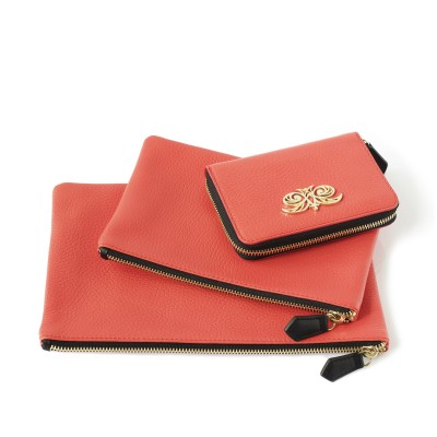 Compact zipped wallet MADRID in grained calfskin, hibiscus color and zippy pouches JULIE and NEW OSLO