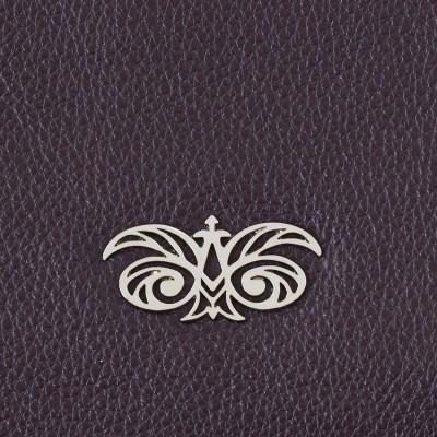 Zipper pouch OSLO in grained calfskin, purple color - shiny nickel logo