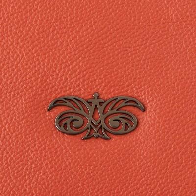 Zipper pouch OSLO in grained calfskin, orange color - gun finishing logo