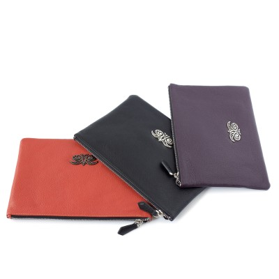 Three zipper pouches OSLO in grained calfskin, orange, black and purple colors