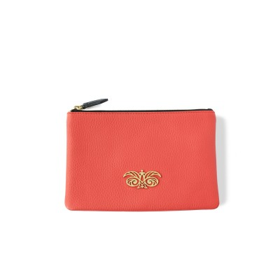 zipper pouch in grained...