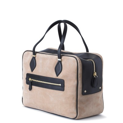 Handbag in nubuck and calf, beige color - back view and zipper
