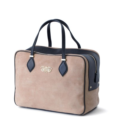 Handbag in nubuck and calf, beige color - profile view