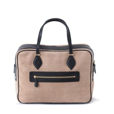 Handbag in nubuck and calf, beige color - back view