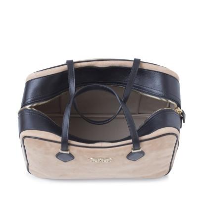 Handbag in nubuck and calf, beige color - open