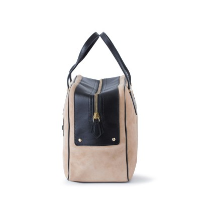 Handbag in nubuck and calf, beige color - profile view and details